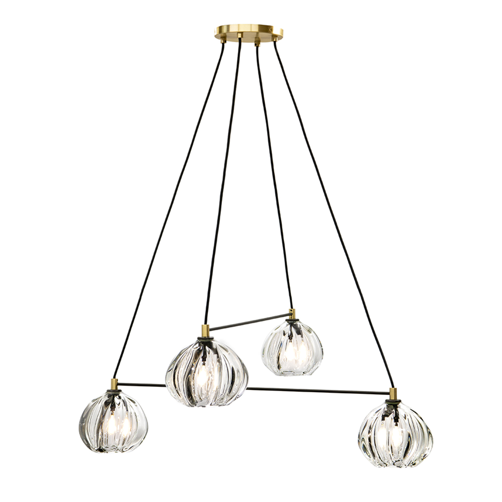 Hand Blown Glass Lighting. 4 light clear urchin linea chandelier by siemon and salazar