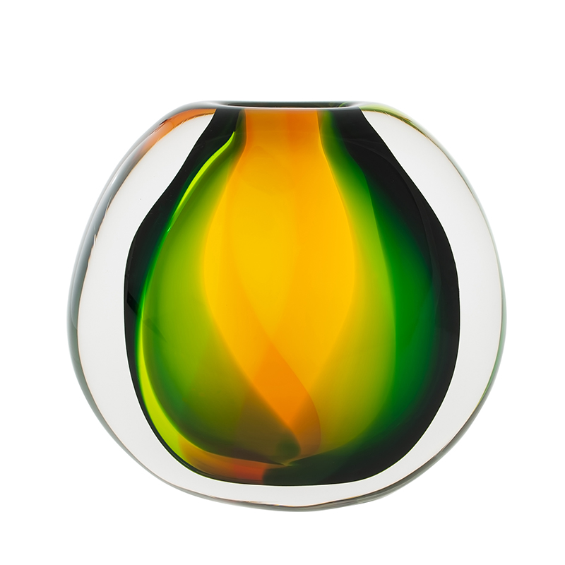 Hand blown glass decor. paradise flat round by siemon and salazar