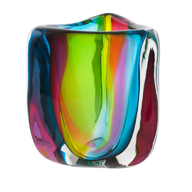 Hand blown glass decor. chroma low triangle vase by siemon and salazar