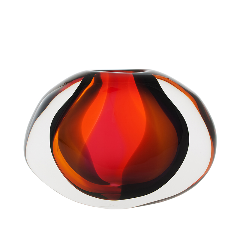 Hand blown glass decor. sunset low flat oval by siemon and salazar