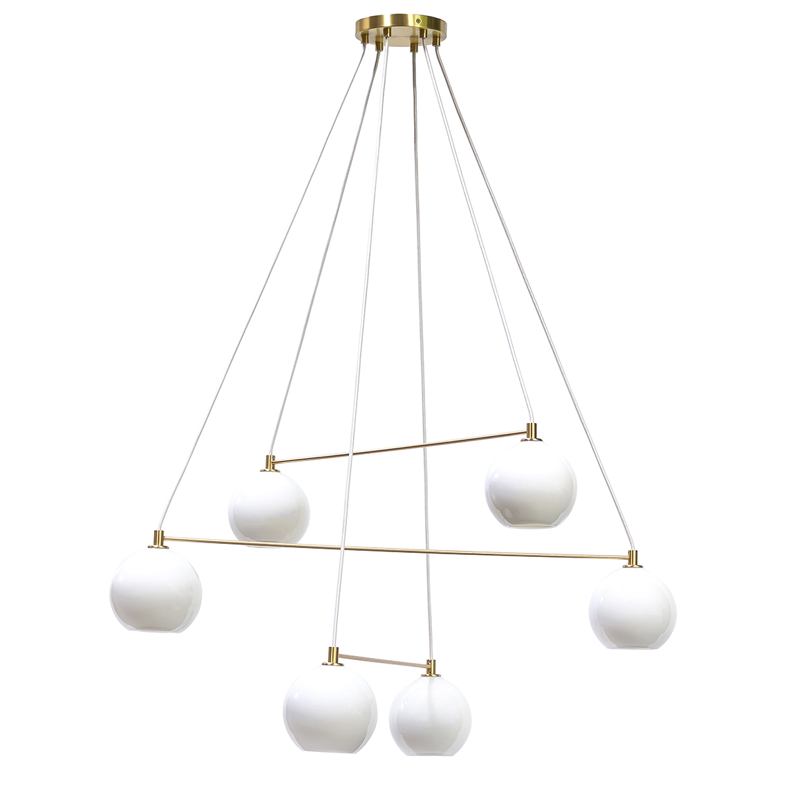 6 light enamel white linea chandelier