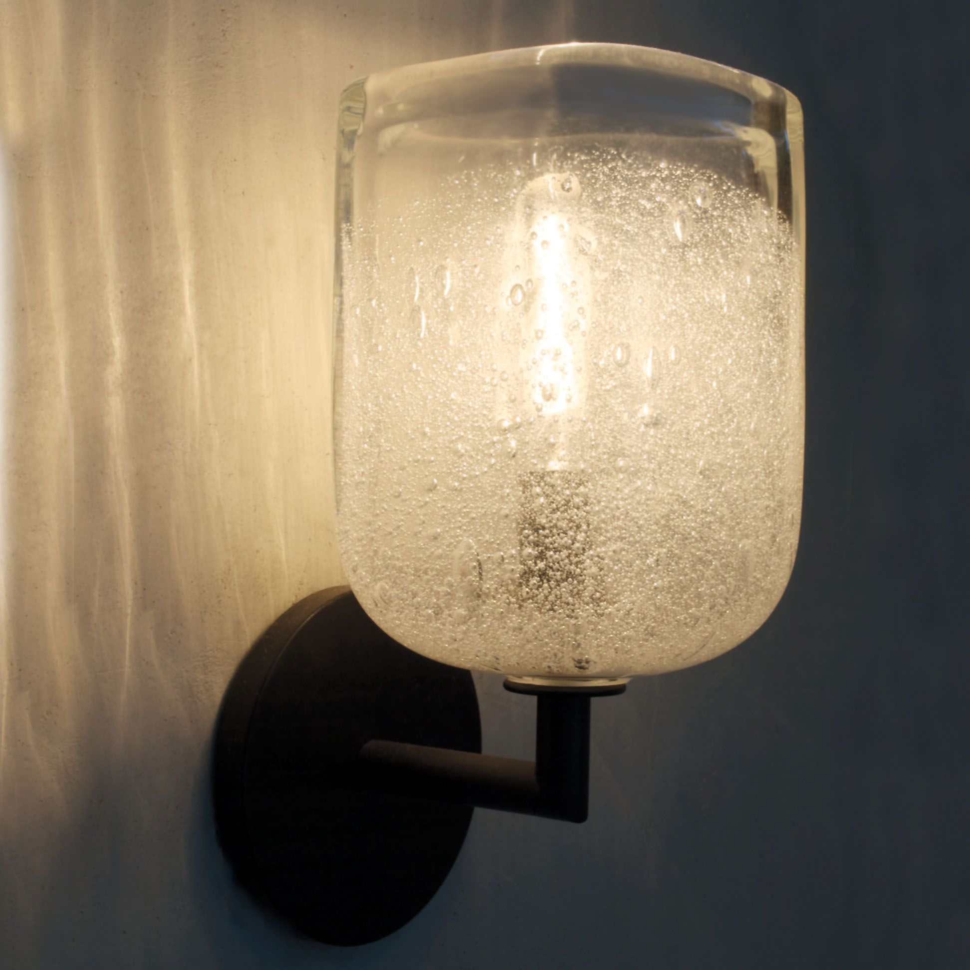 Hand Blown Glass Lighting. clear bubble square elbow sconce by siemon and salazar