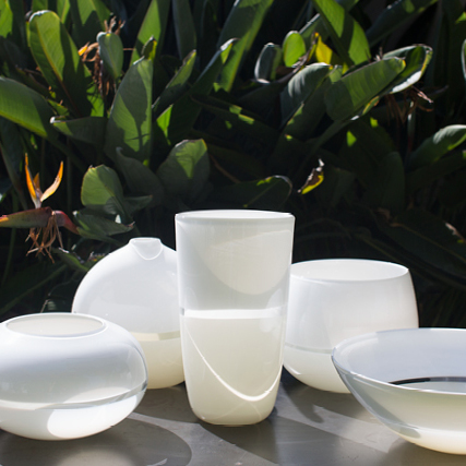 White/Ivory Lattimo Low Bowl