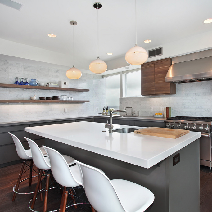 hand blown kitchen lighting by siemon and salazar
