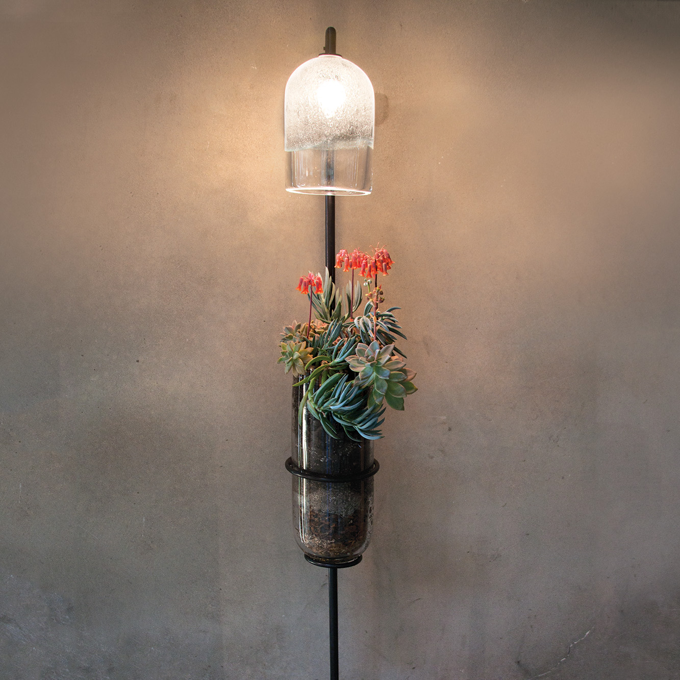 Hand Blown Glass Lighting. floor growlamp by siemon and salazar