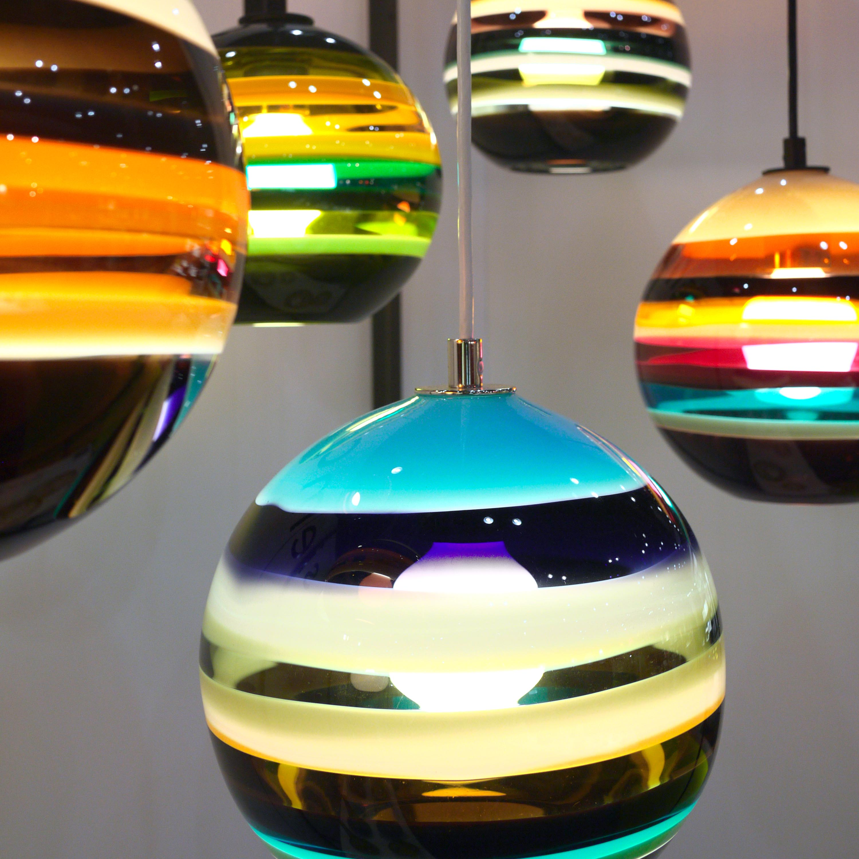custom colorful pendant lights by siemon and salazar