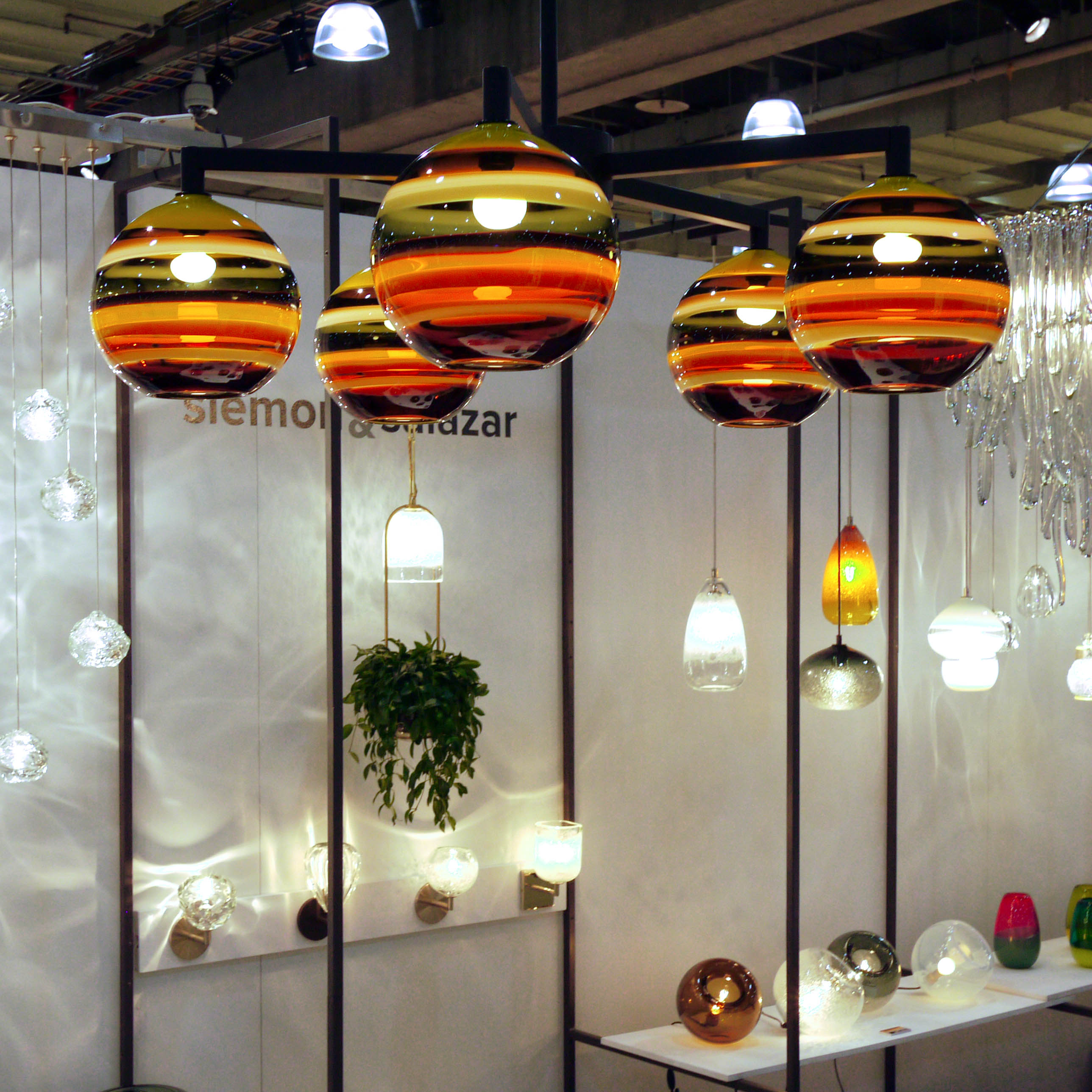 Hand Blown Glass Lighting. Mustard Banded Orb Pendant by siemon and salazar