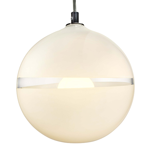 Hand Blown Glass Lighting. white/ivory lattimo orb pendant by siemon and salazar