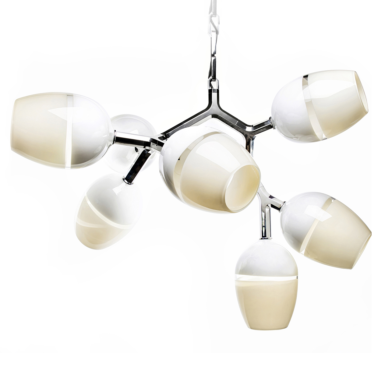 Hand Blown Glass Lighting. 8 light scuro antler chandelier by siemon and salazar