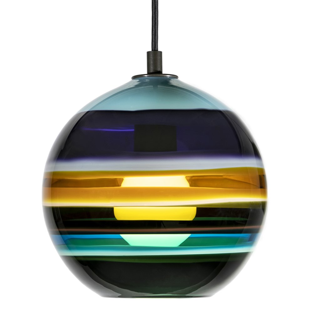Hand Blown Glass Lighting. aqua banded orb pendant by siemon and salazar