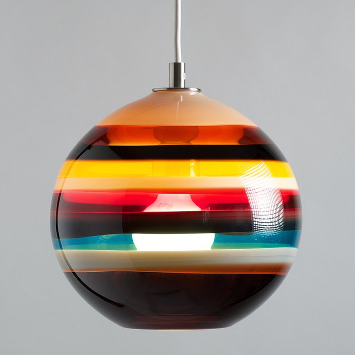 Hand Blown Glass Lighting. Cranberry Banded Orb Pendant by siemon and salazar