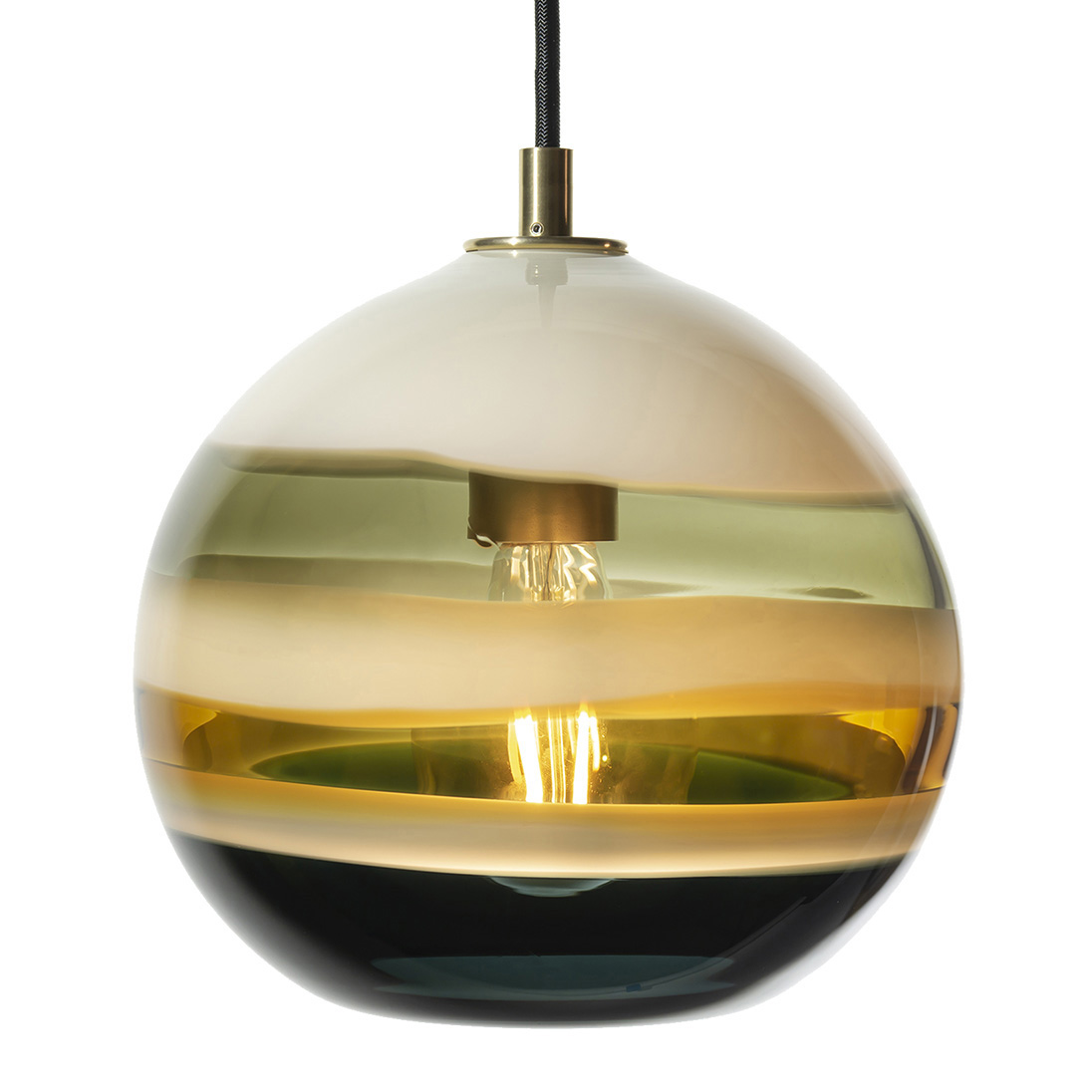 Hand Blown Glass Lighting. borrego banded orb pendant by siemon and salazar