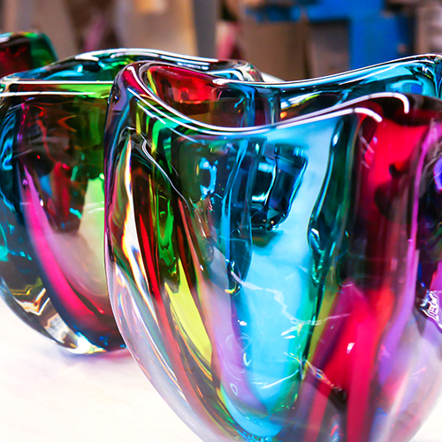 Hand blown glass vase. chroma low triangle vase by siemon and salazar