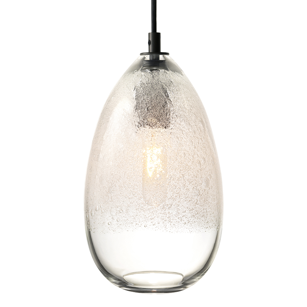 Hand Blown Glass Lighting. clear cone bubble pendant by siemon and salazar