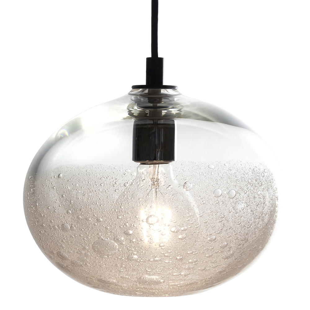 Hand Blown Glass Lighting. clear ellipse bubble pendant by siemon and salazar