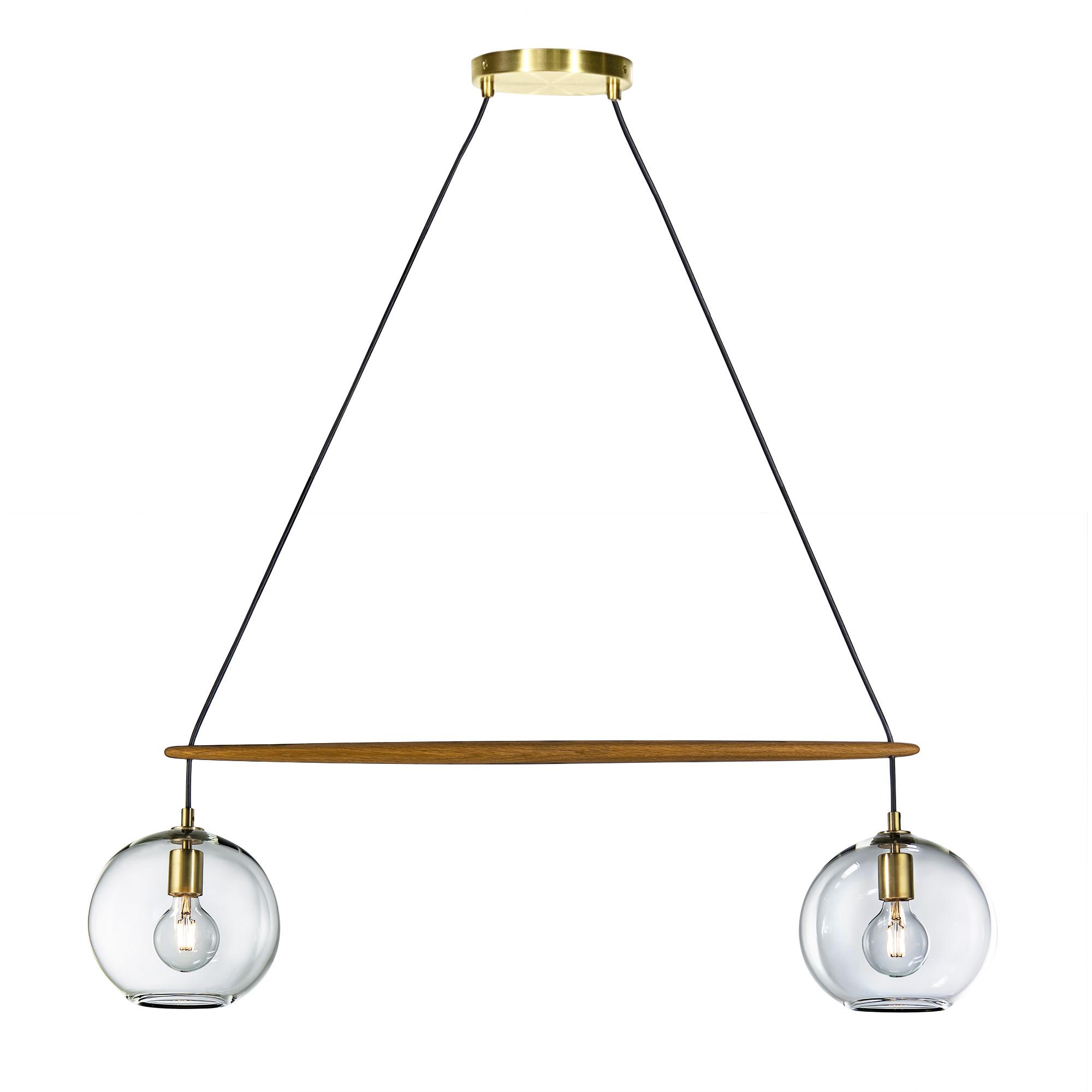 2 light clear orb linea chandelier