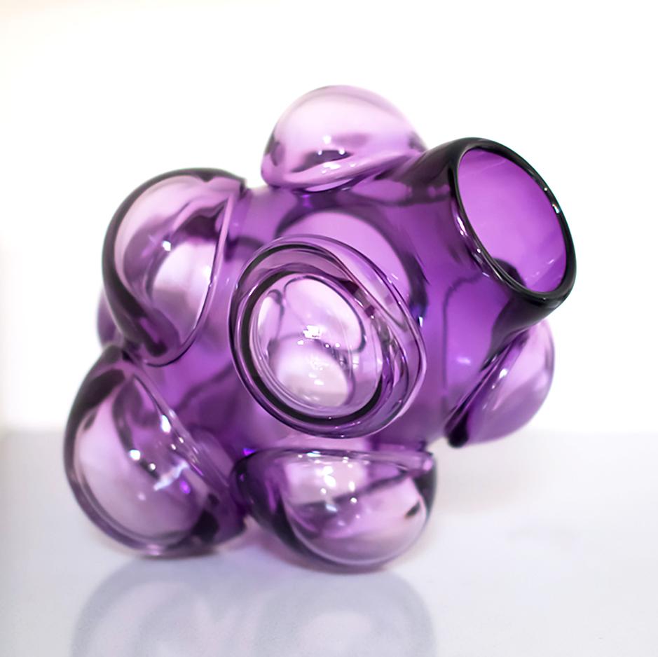 Hand blown glass vase. amethyst cumulo barrel vase by siemon and salazar