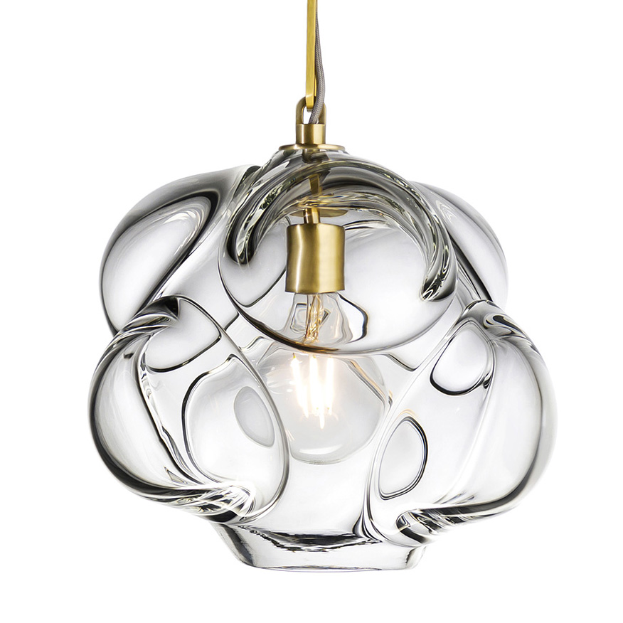 Hand Blown Glass Lighting. extra large clear cumulo pendant by siemon and salazar