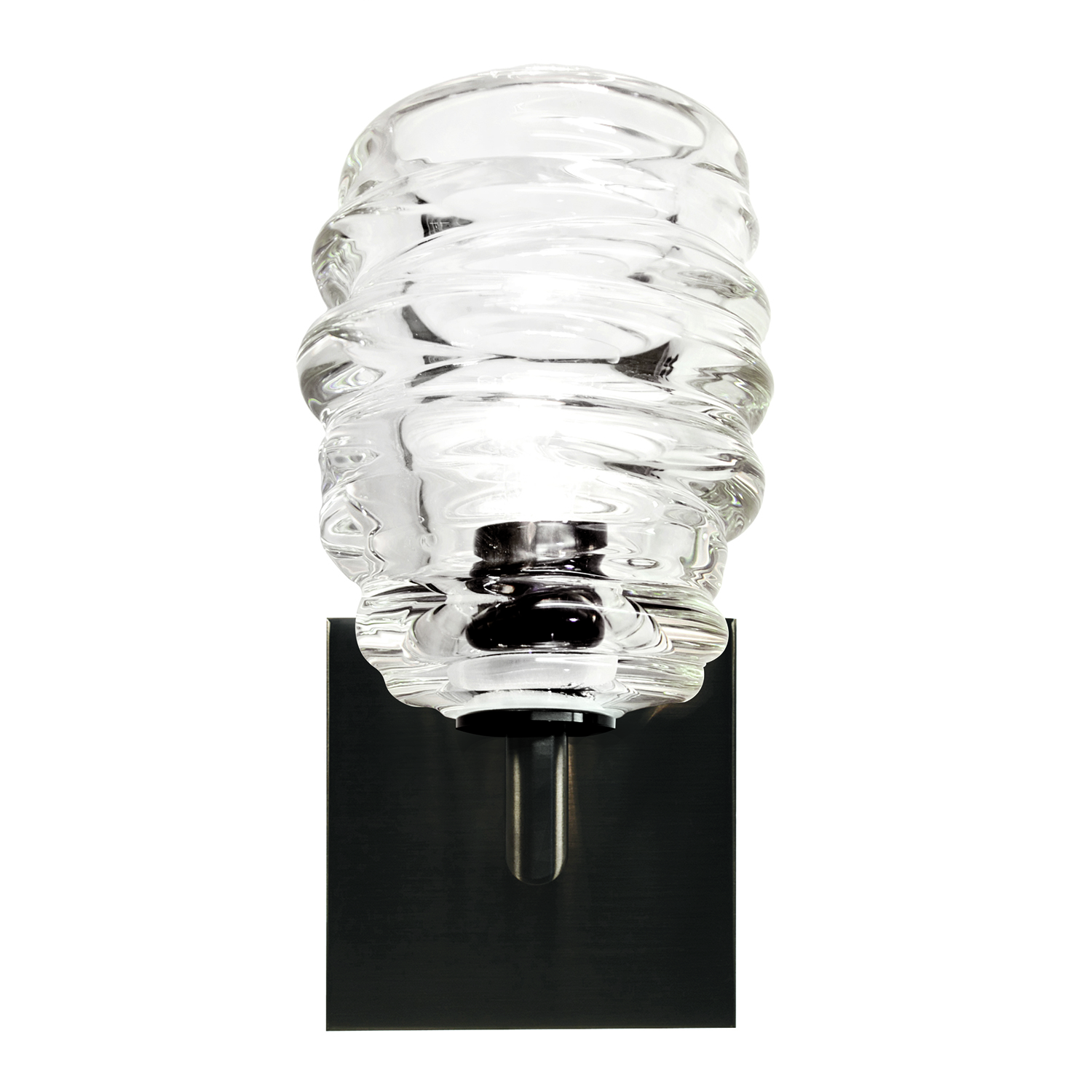Hand Blown Glass Lighting. clear cyclone elbow sconce by siemon and salazar