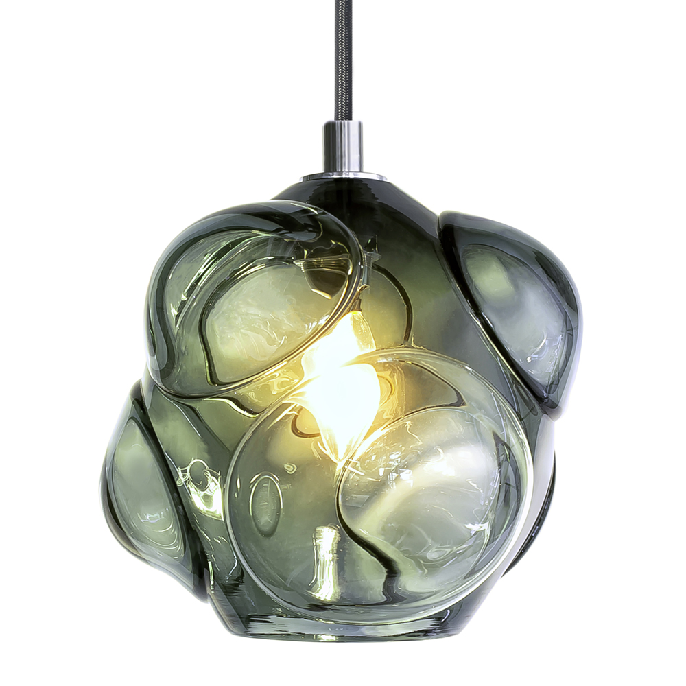 Hand Blown Glass Lighting. grey cumulo pendant by siemon and salazar