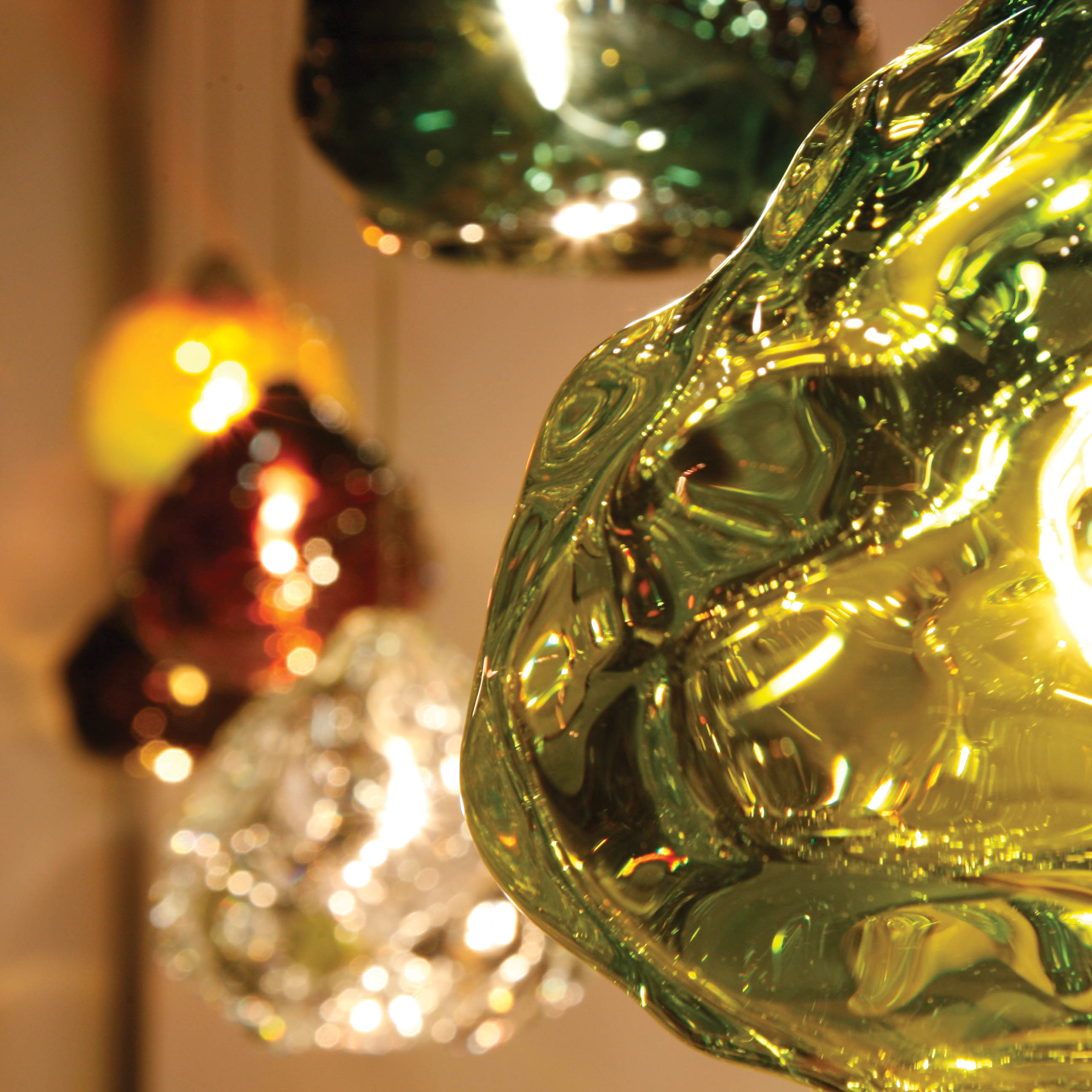 Hand Blown Glass Lighting. Lime Green Happy Light by siemon and salazar