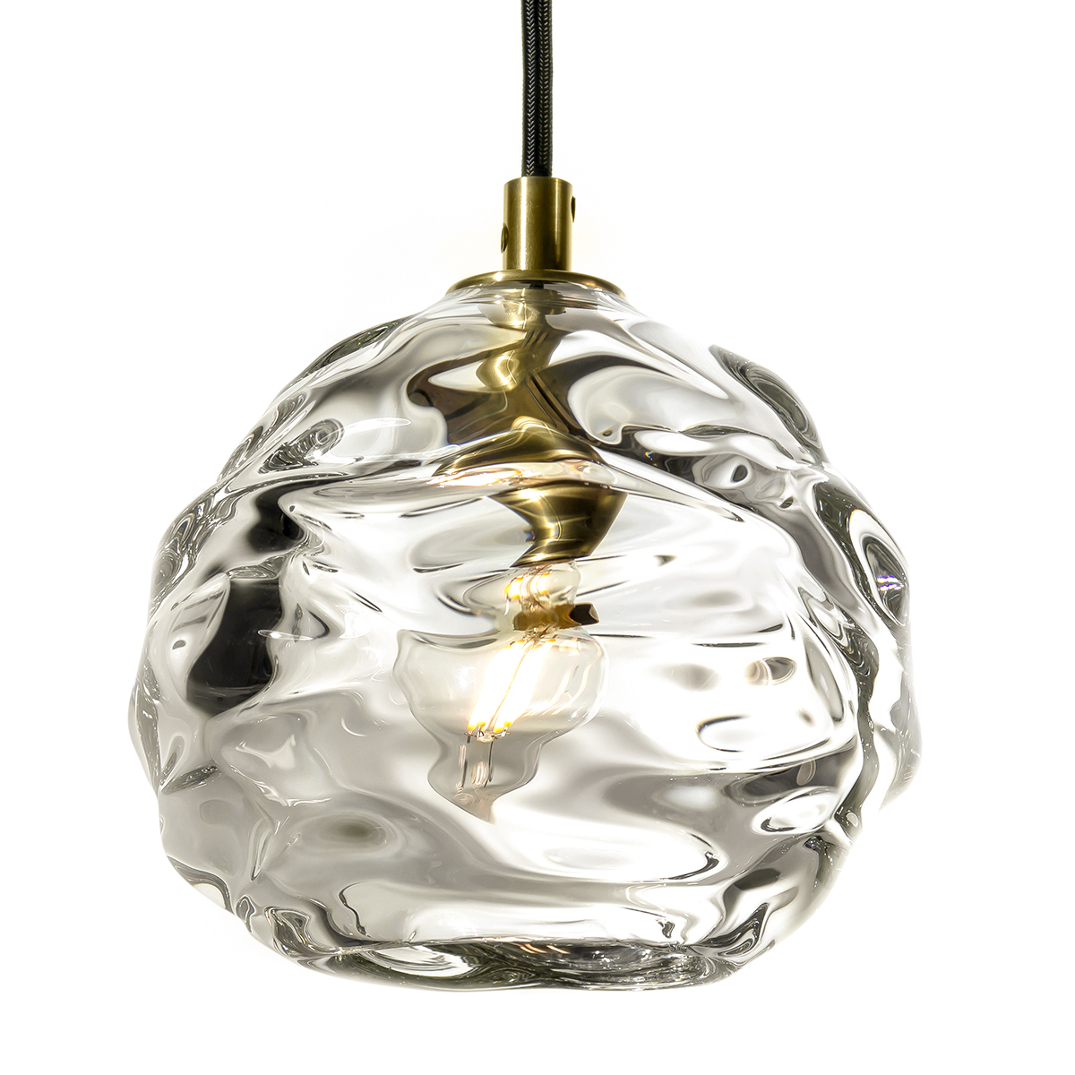 Hand Blown Glass Lighting. thick clear happy pendant by siemon and salazar