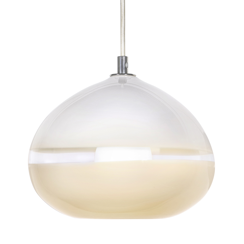 Hand Blown Glass Lighting. white/ivory lattimo droplet pendant by siemon and salazar