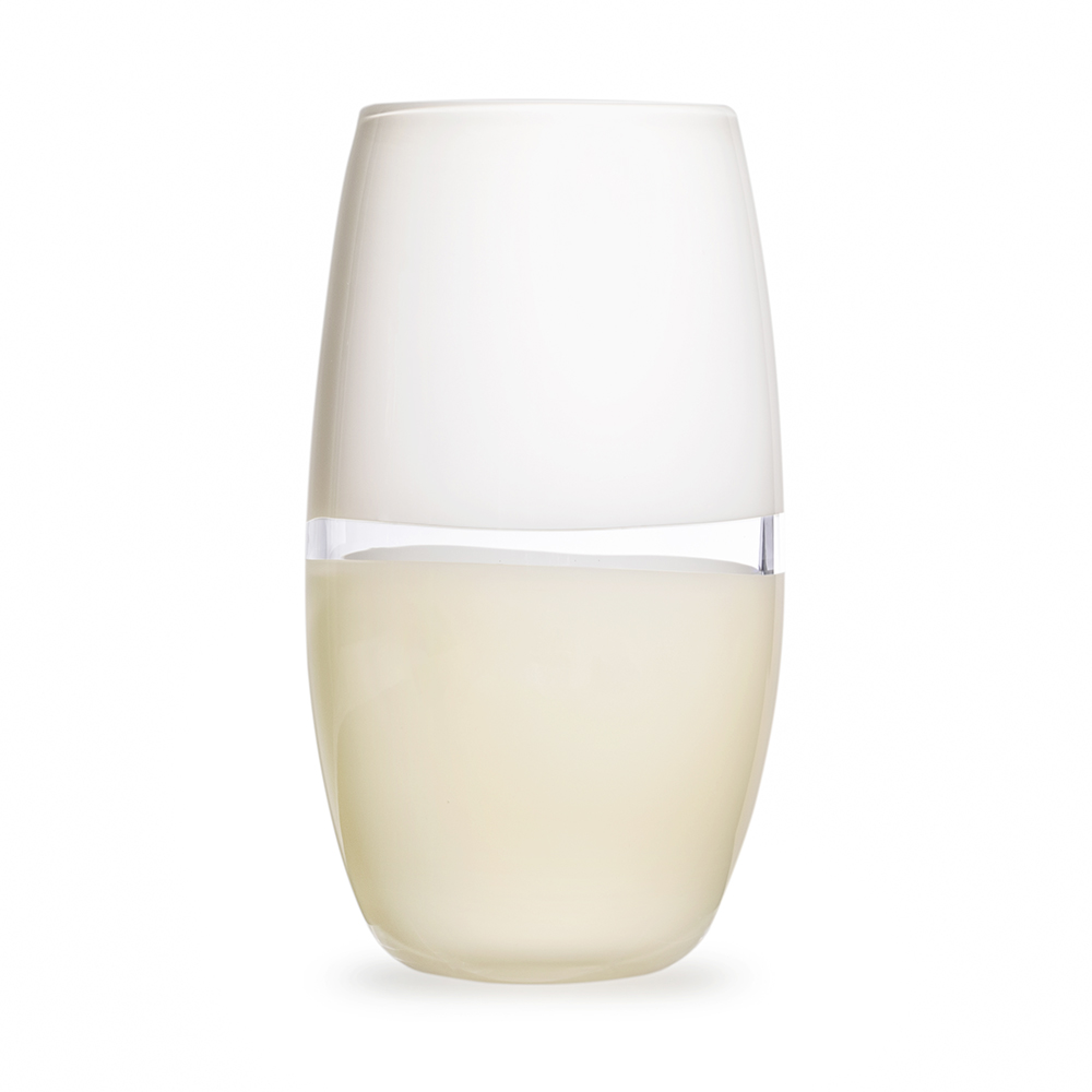 Hand blown glass decor. white/ivory lattimo soft cylinder by siemon and salazar