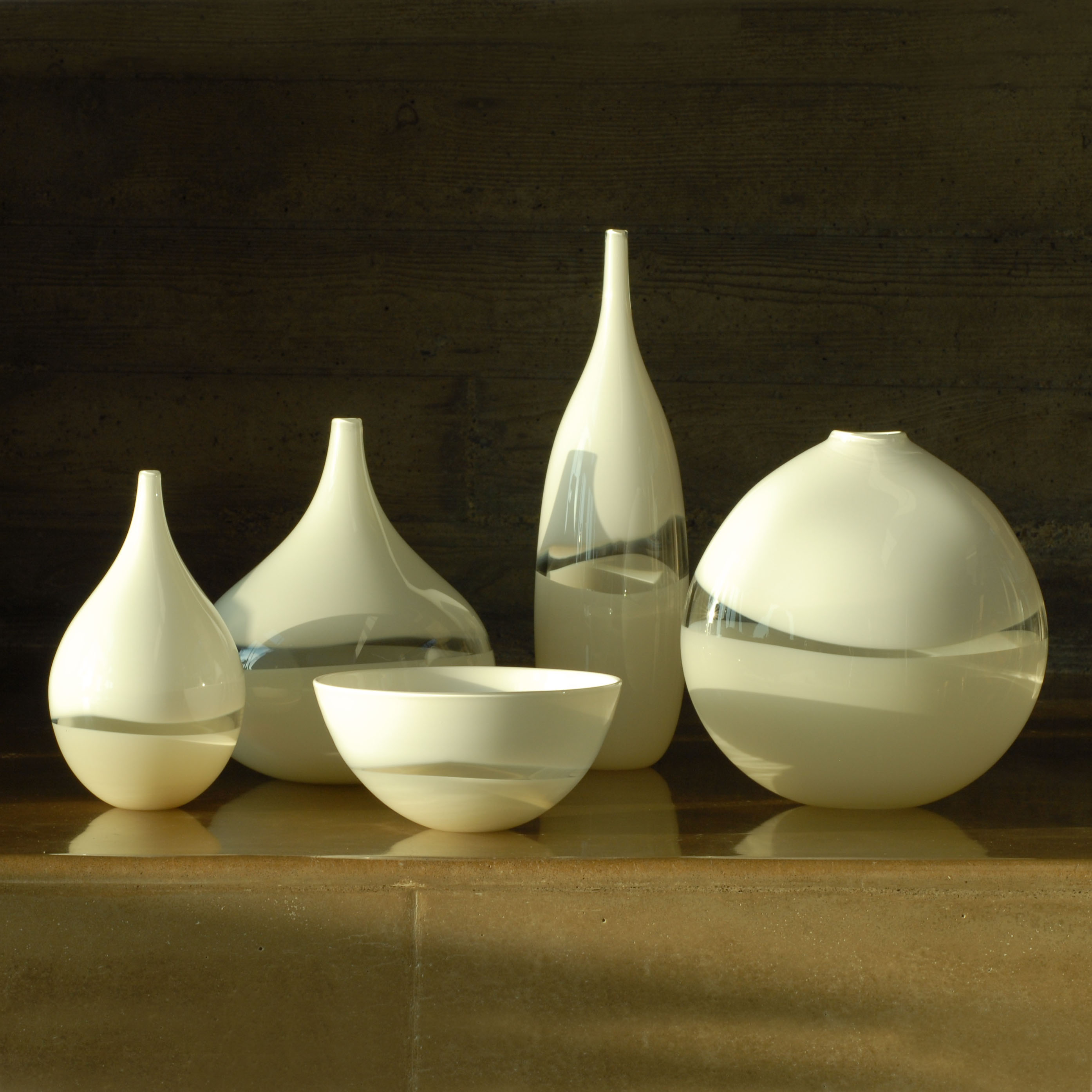 hand blown white glass collection by siemon and salazar