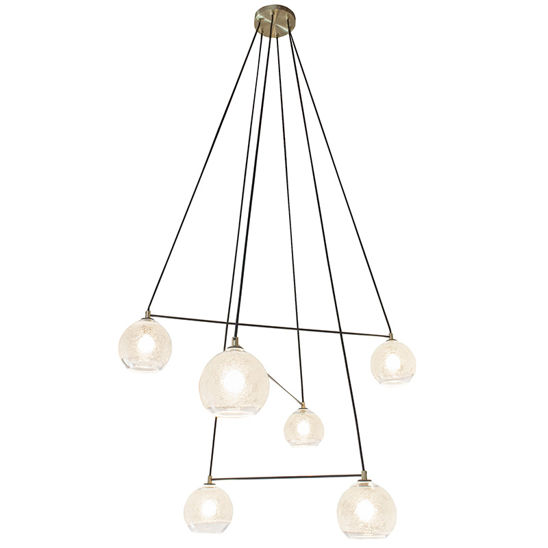 Hand Blown Glass Lighting. 6 light clear bubble linea chandelier by siemon and salazar
