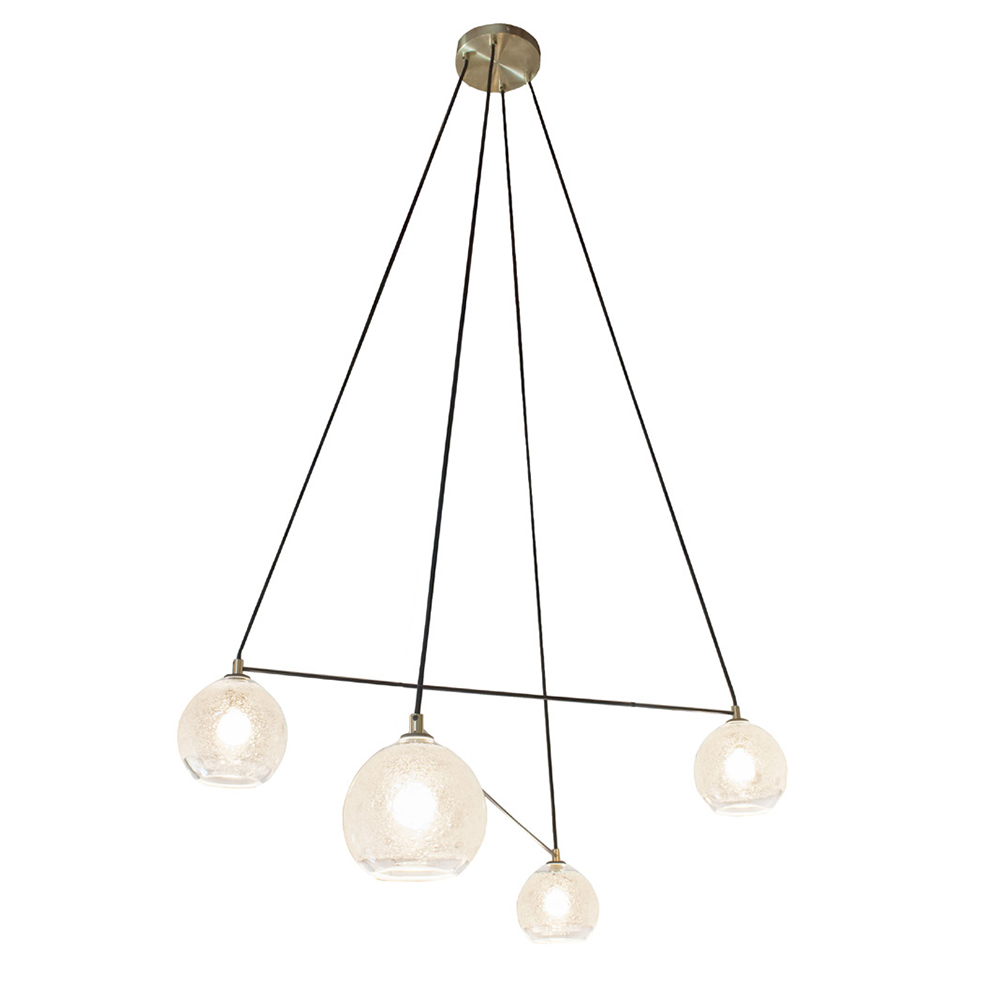 Hand Blown Glass Lighting. 4 light clear bubble linea chandelier by siemon and salazar