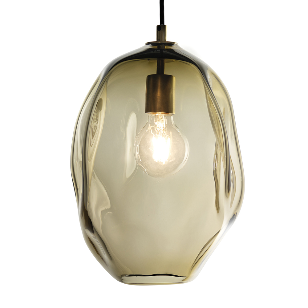 Hand Blown Glass Lighting. long smoky topaz wabi pendant by siemon and salazar