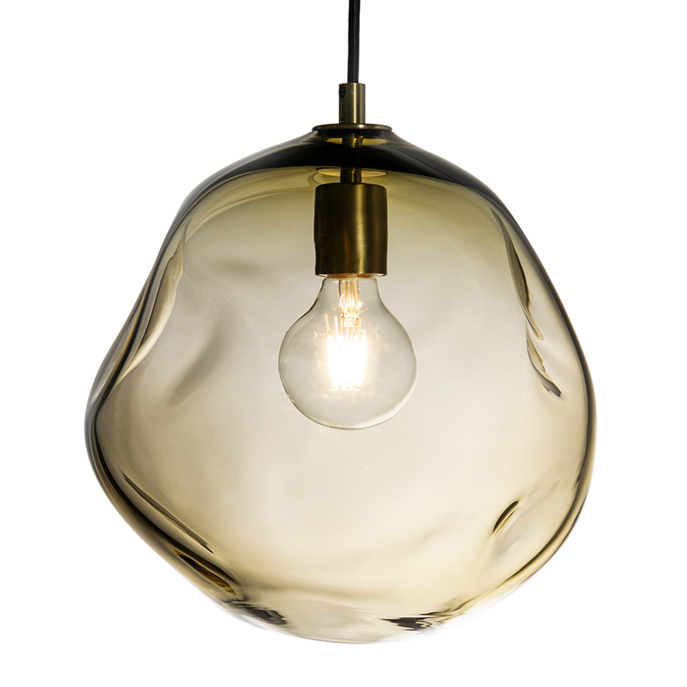 Hand Blown Glass Lighting. round smoky topaz wabi pendant by siemon and salazar