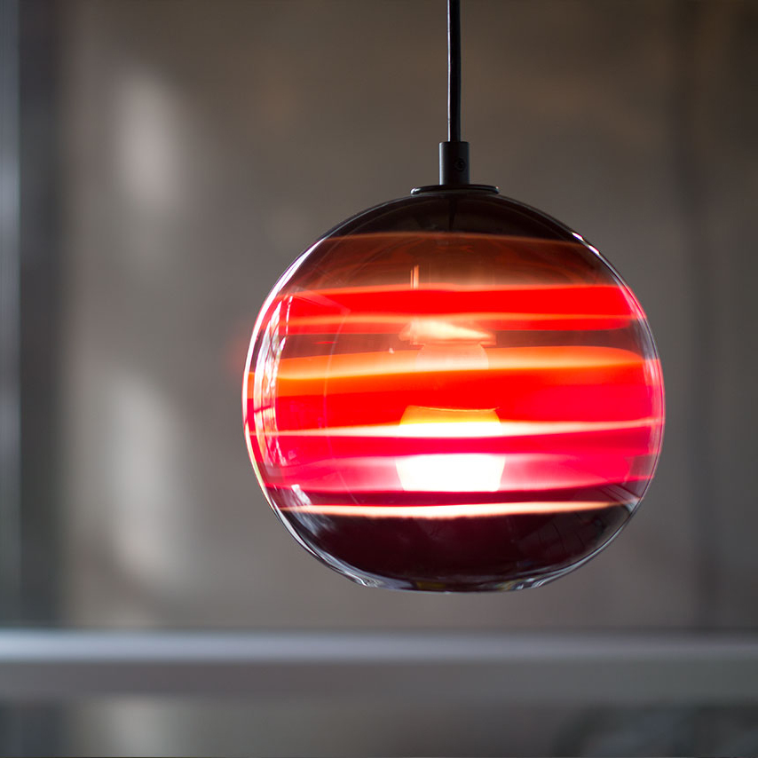 Hand Blown Glass Lighting. Scarlet Banded Orb Pendant by siemon and salazar