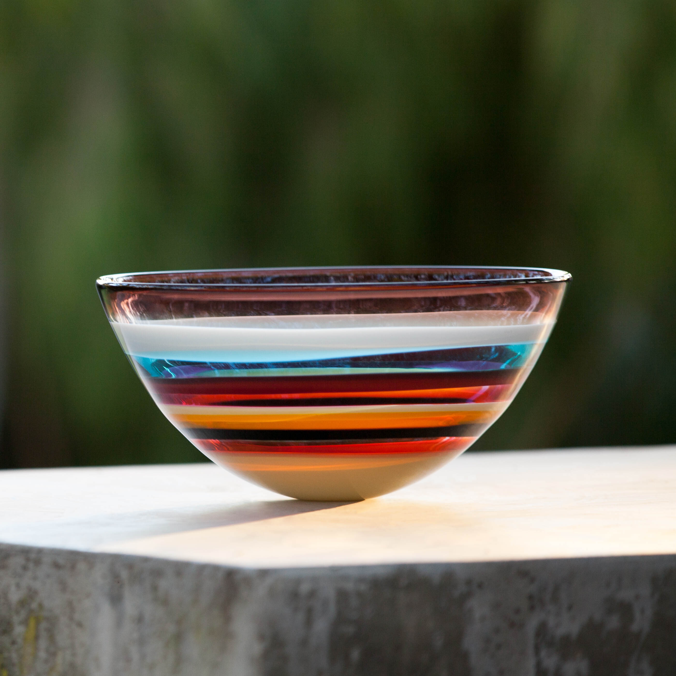 Hand blown glass vase. Cranberry Low Bowl by siemon and salazar