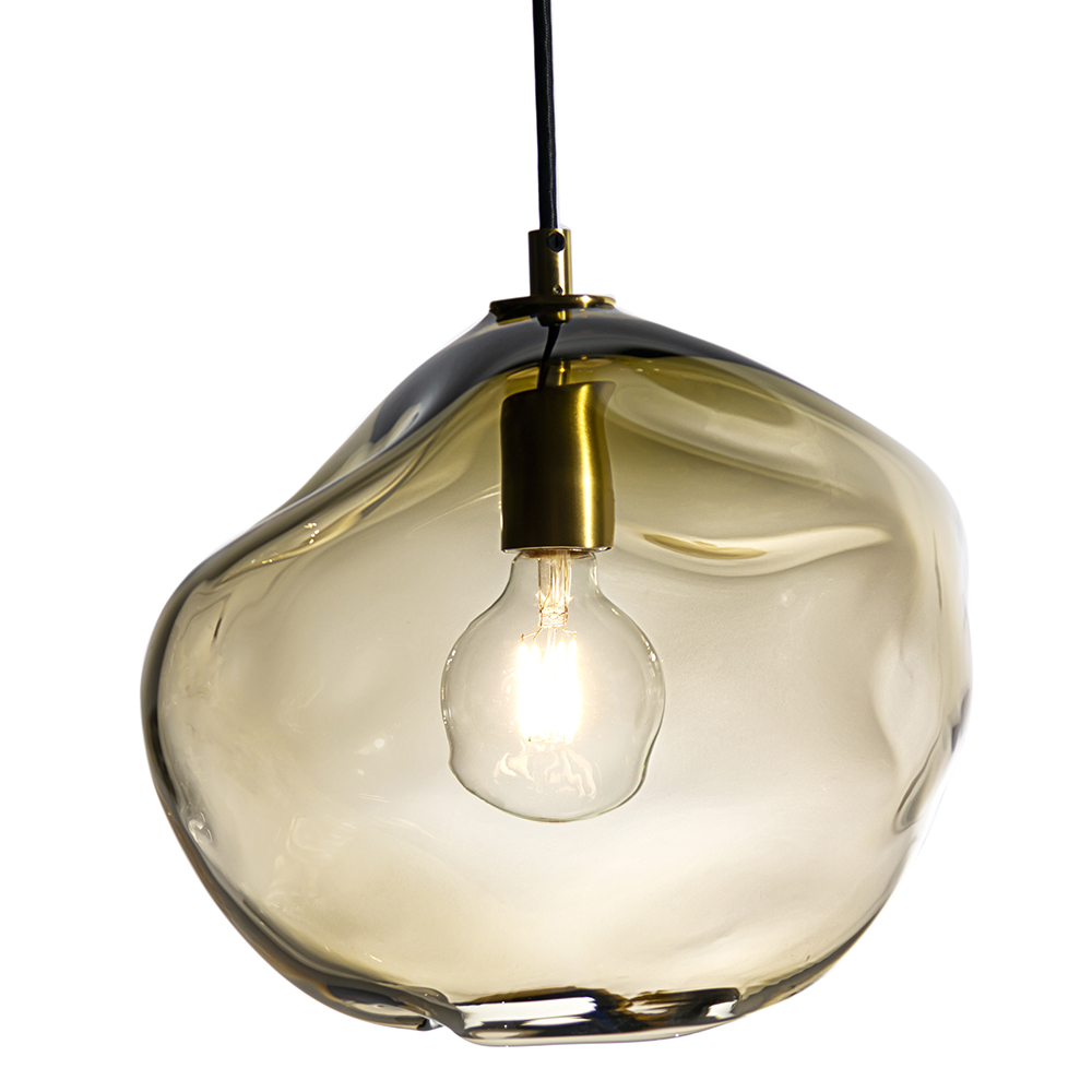 Hand Blown Glass Lighting. short smoky topaz wabi pendant by siemon and salazar