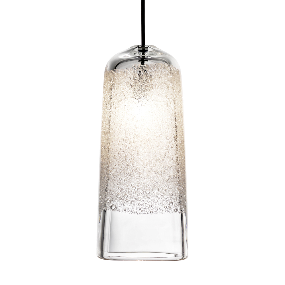 Hand Blown Glass Lighting. clear bubble square light by siemon and salazar