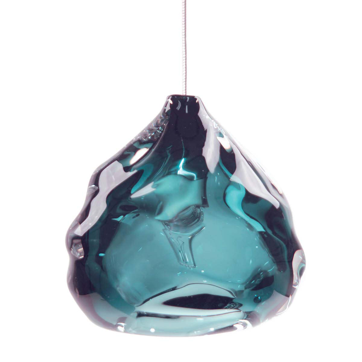 Hand Blown Glass Lighting. steel blue happy light by siemon and salazar