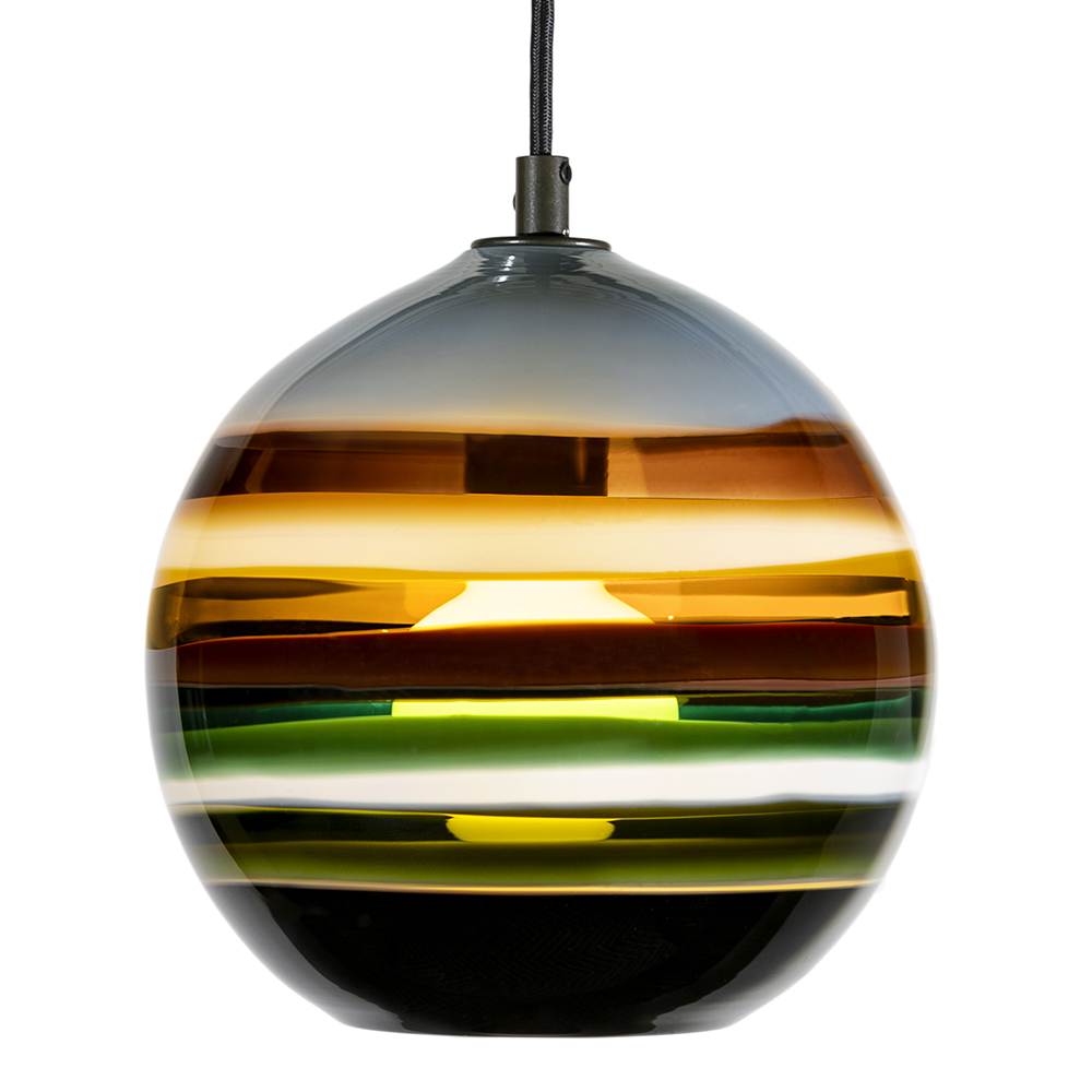Hand Blown Glass Lighting. stone banded orb pendant by siemon and salazar