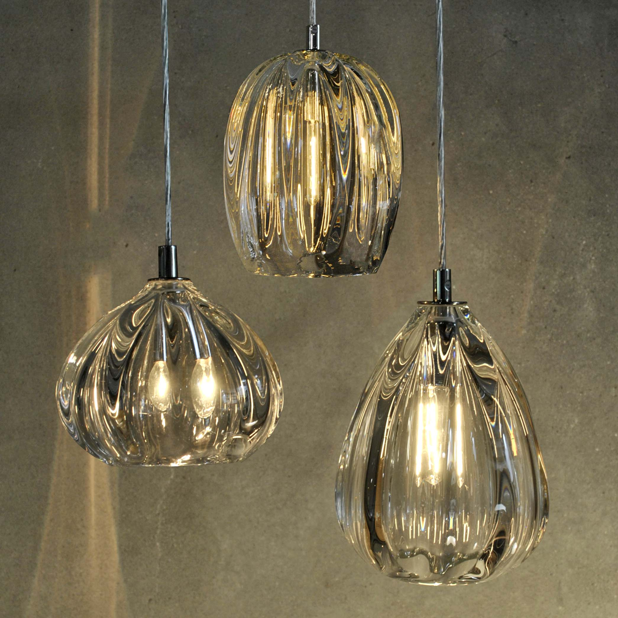 Hand Blown Glass Lighting. Thick Clear Barnacle Barrel Pendant by siemon and salazar